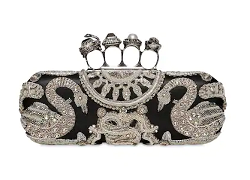 ALEXANDER MCQUEEN EMBELLISHED LEATHER KNUCKLE RING CLUTCH