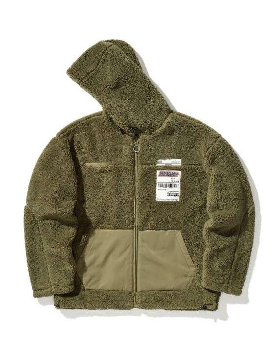 标签缝饰拉链毛绒夹克