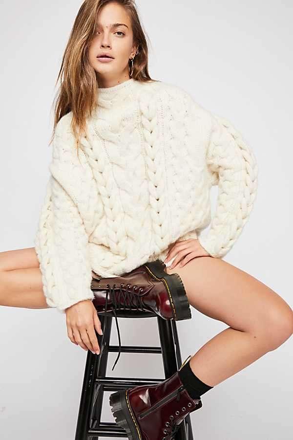 编织设计绞花套头毛衣