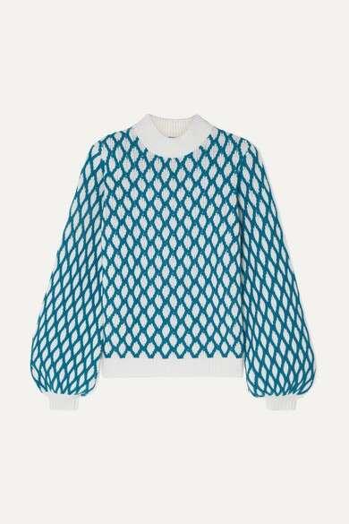 STINE GOYACarlo 双色绞花针织羊毛混纺毛衣