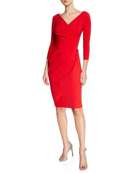 Chiara Boni La Petite Robe Charisse 3/4-Sleeve Bodycon Cocktail Dress