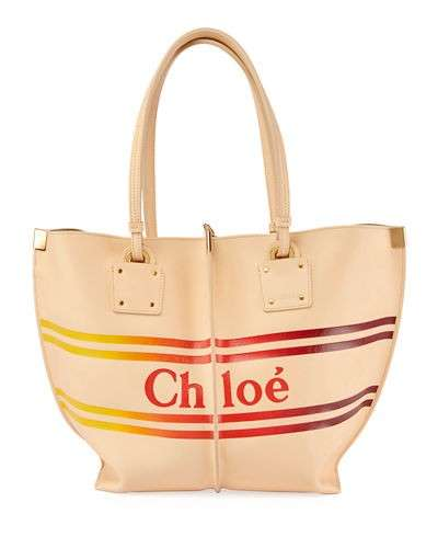 Chloe Vick Striped Logo Leather Tote Bag