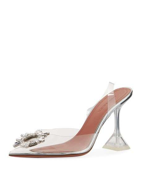 Amina Muaddi Begum Glass Transparent Sandals