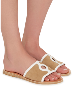 Ancient Greek Sandals Illia Cutout Patent-Leather And Suede Slides