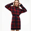 Lacoste 女士红黑格纹毛线裙