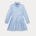 Ralph Lauren 女同款天蓝色收腰衬衣裙