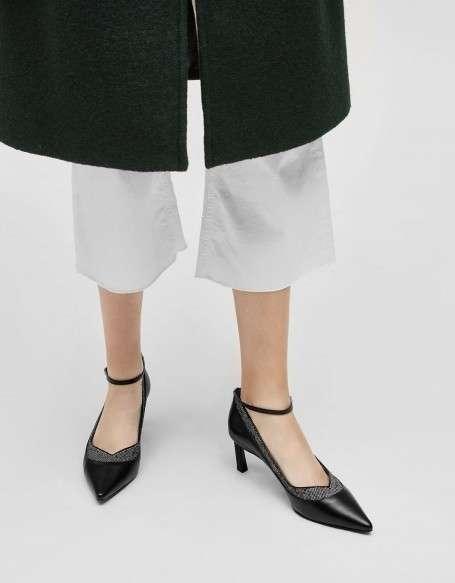 拼接绑带高跟鞋