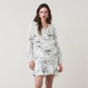 DVF 黑白线条印花裹身连衣裙