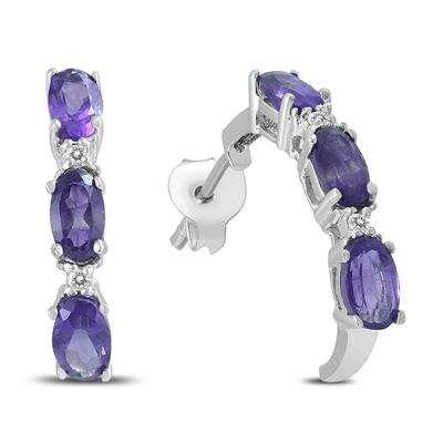 紫水晶碎钻耳环
