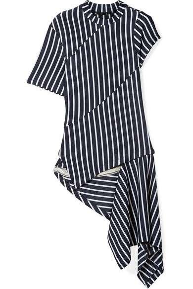 MONSE 不对称拼接条纹平纹布上衣