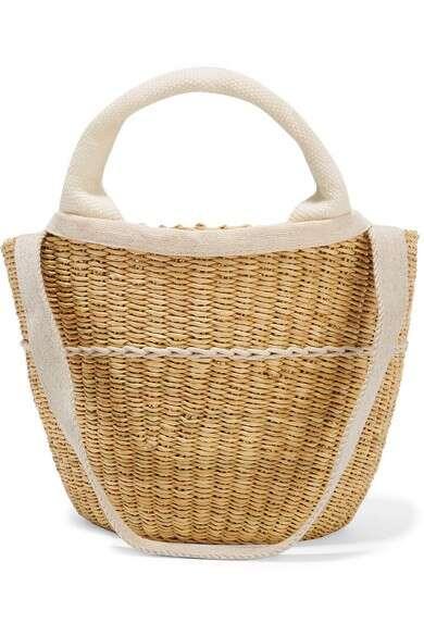 MUUÑ Elisa 编织草棉质帆布手提包
