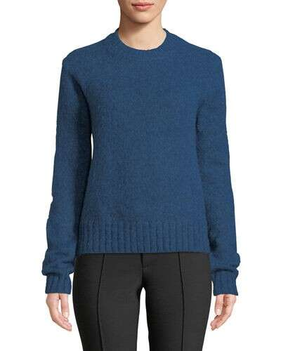 Helmut Lang Brushed Wool-Alpaca Crewneck Pullover Sweater